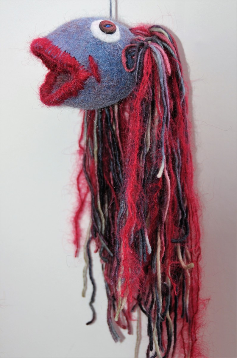 Side view of the wet felted fish