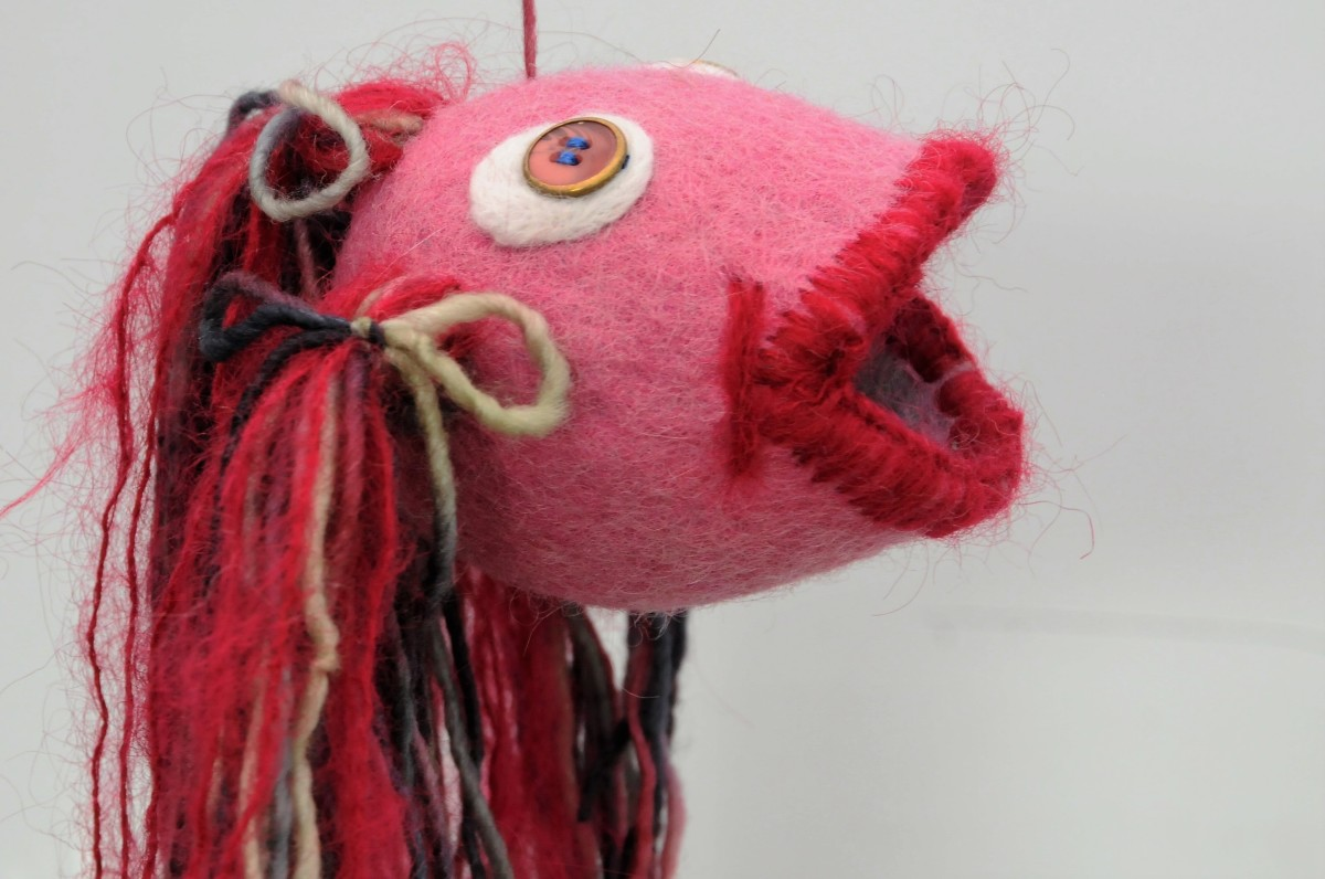 Close up image of 'Gobby' the Felt Fish