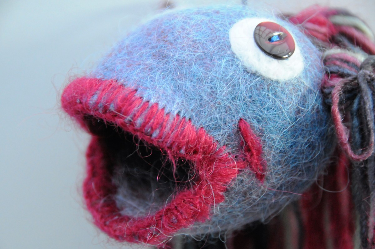 Looking at the detail of a felt fish