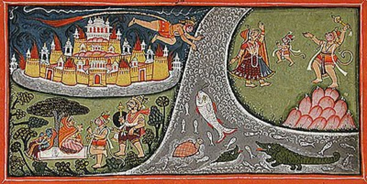 A painting of 18th century showing Hanuman flight to Lanka, meeting Sita, and burning of Lanka