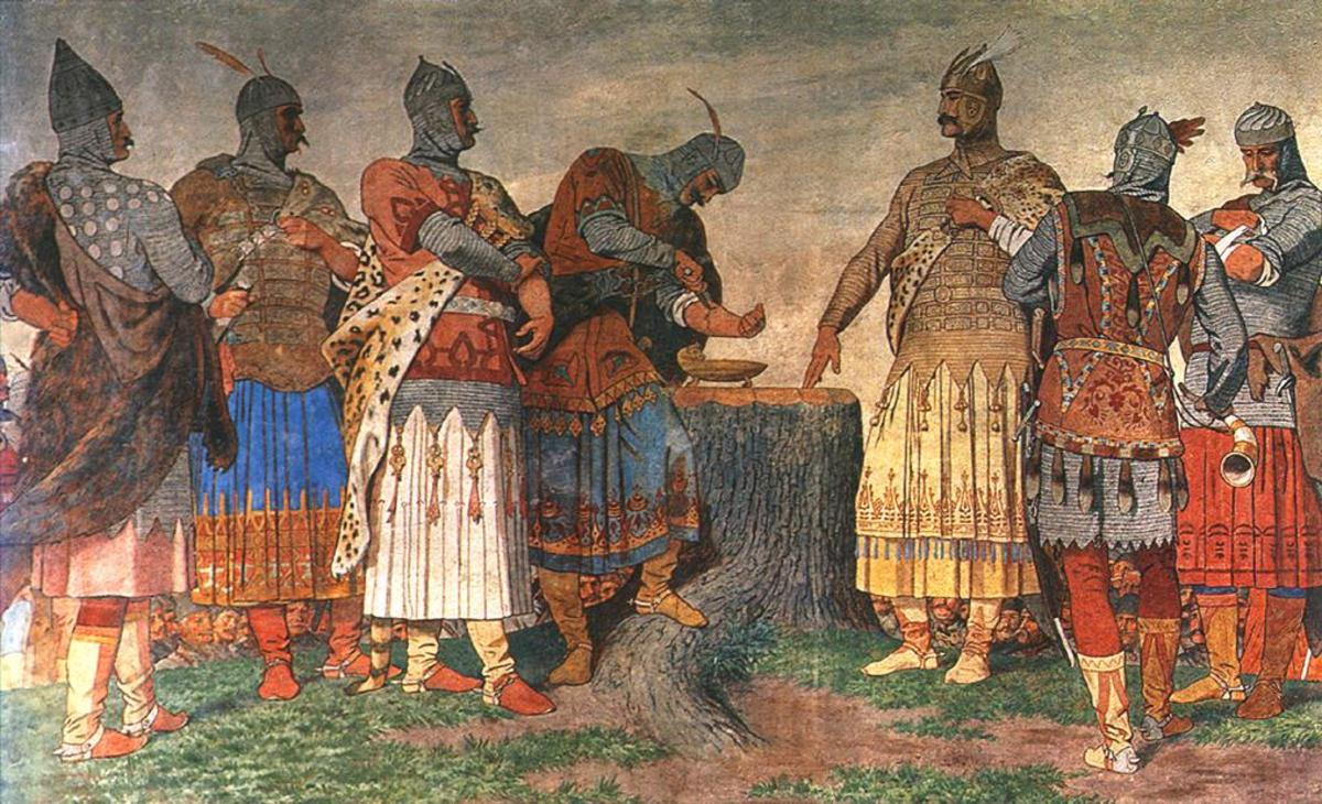 Painting from circa 1897 depicting the early tribesmen  banding together to make early Hungary.