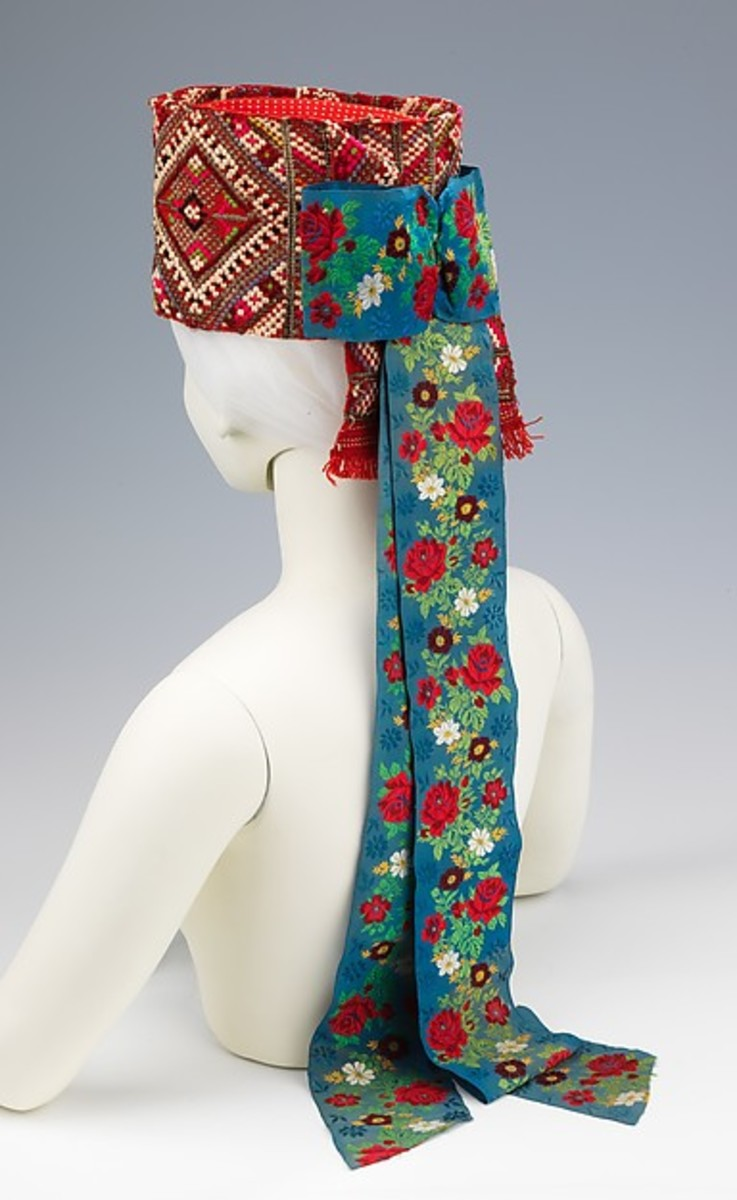 Traditional Hungarian headdress for women during the latter part of the 1800's. Heavily embroidered on both the hat and its streamers.