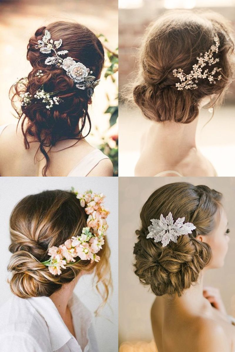 4 photos of exquisitely beautiful bridal hair styles with stone encrusted hair accessory