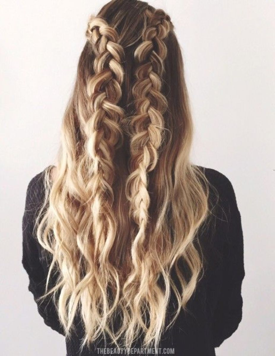 braid with loose wavy hair perfect for outdoor wedding