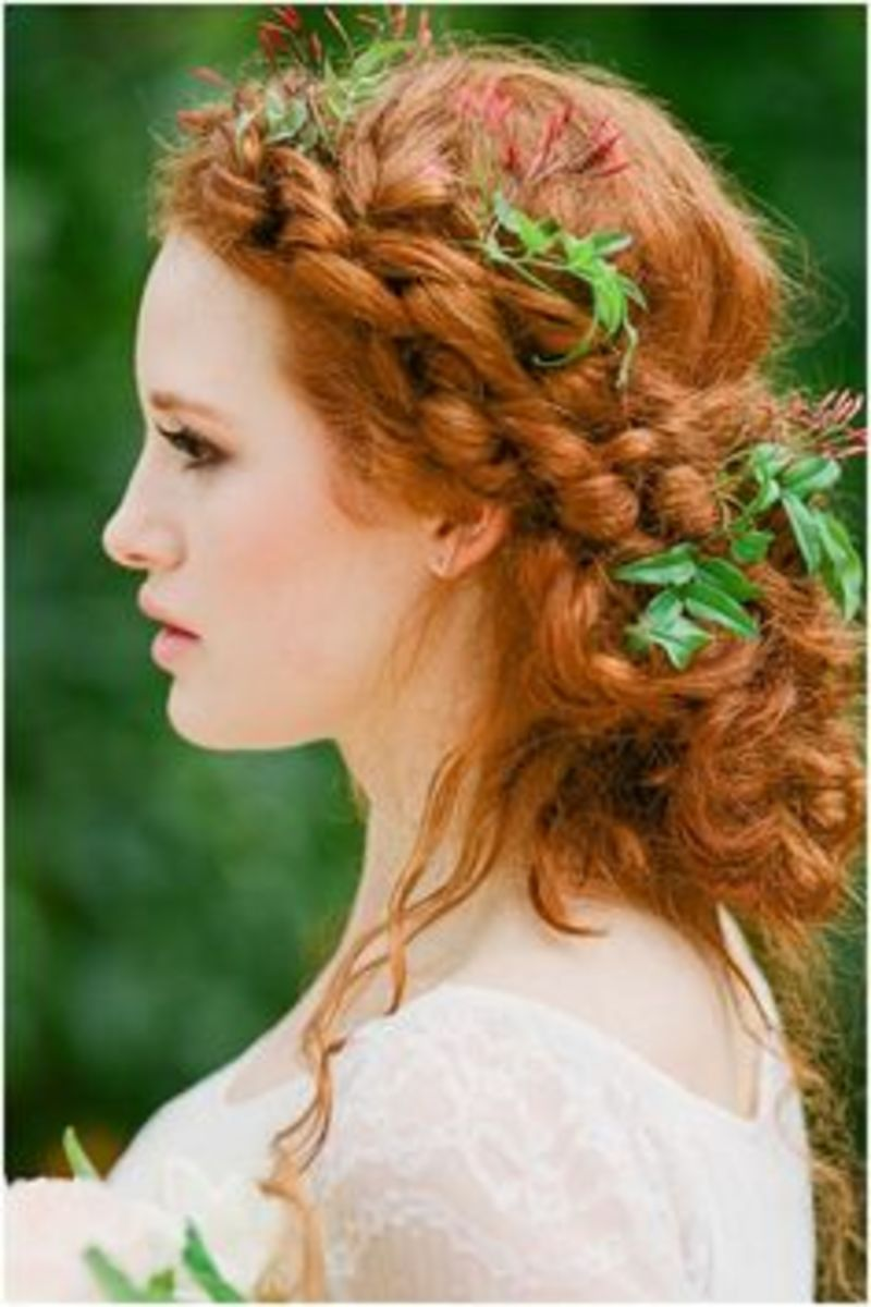 red hair with green leaves