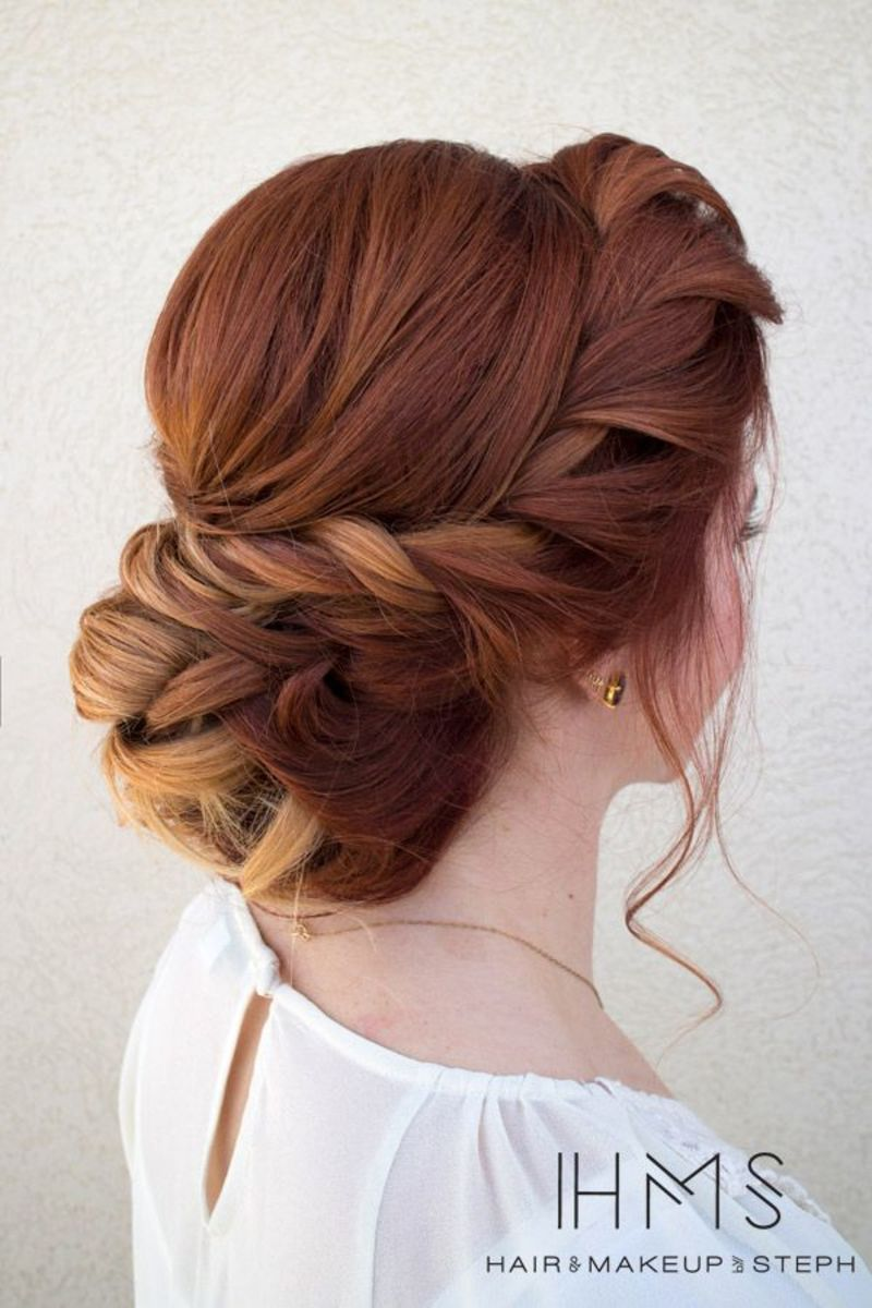 chestnut red hair bun