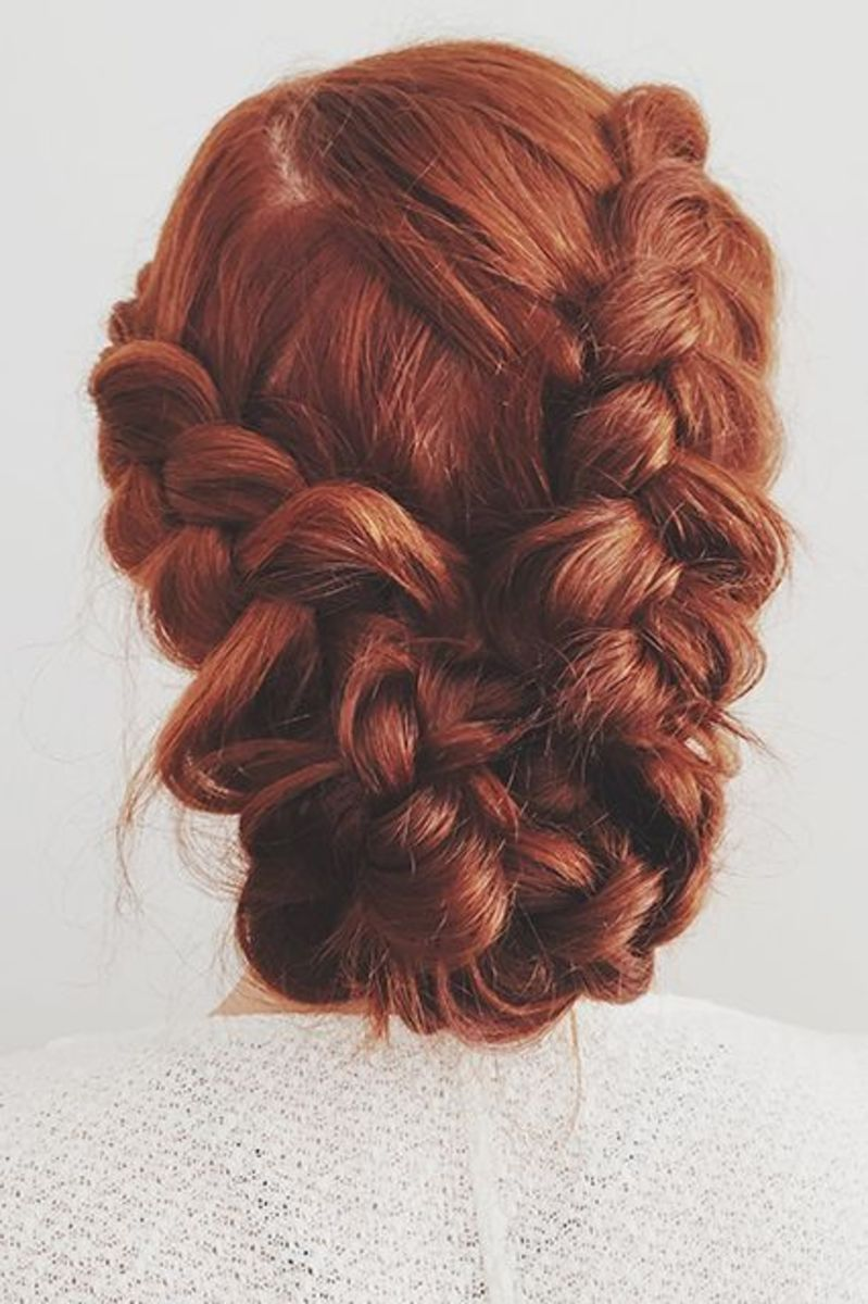 redhead with braided chignon