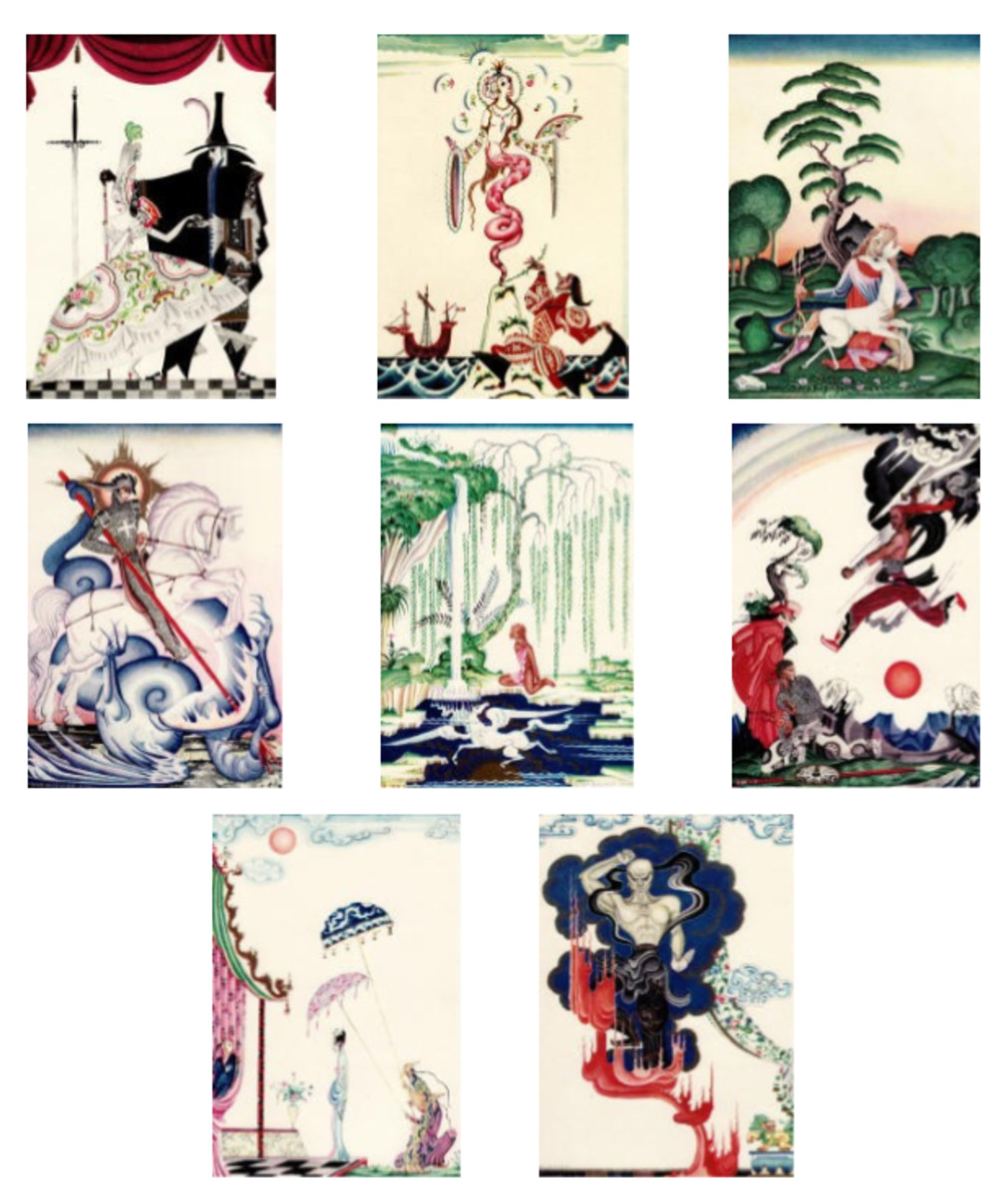 "Here we show each of the full-color designs by Kay Nielsen from the suite published in ""Red Magic"" (1930)."