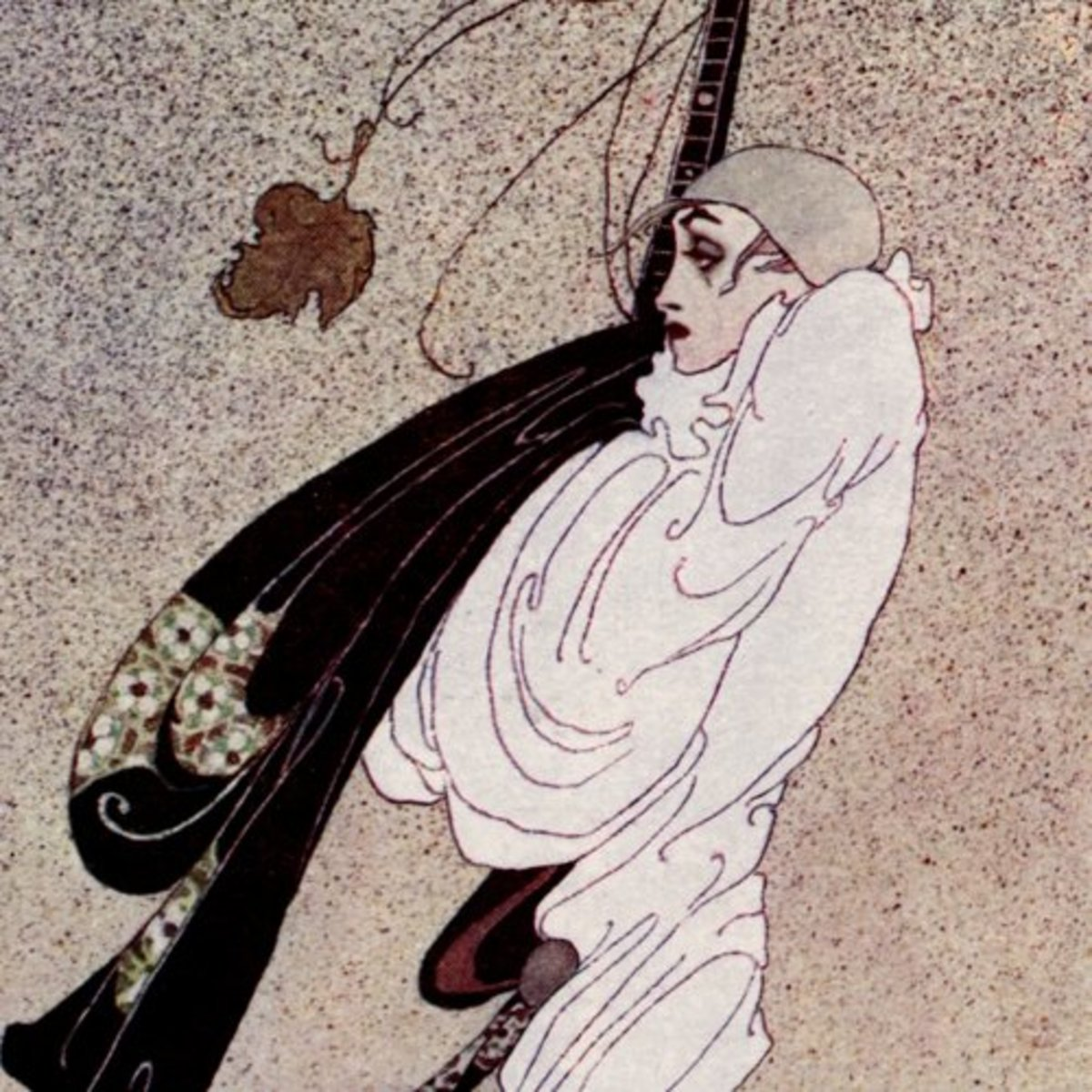 """Here we show a portion of """"Fallen Leaves"""" - a design by Kay Nielsen inspired by the tragic tale of Pierrot."""