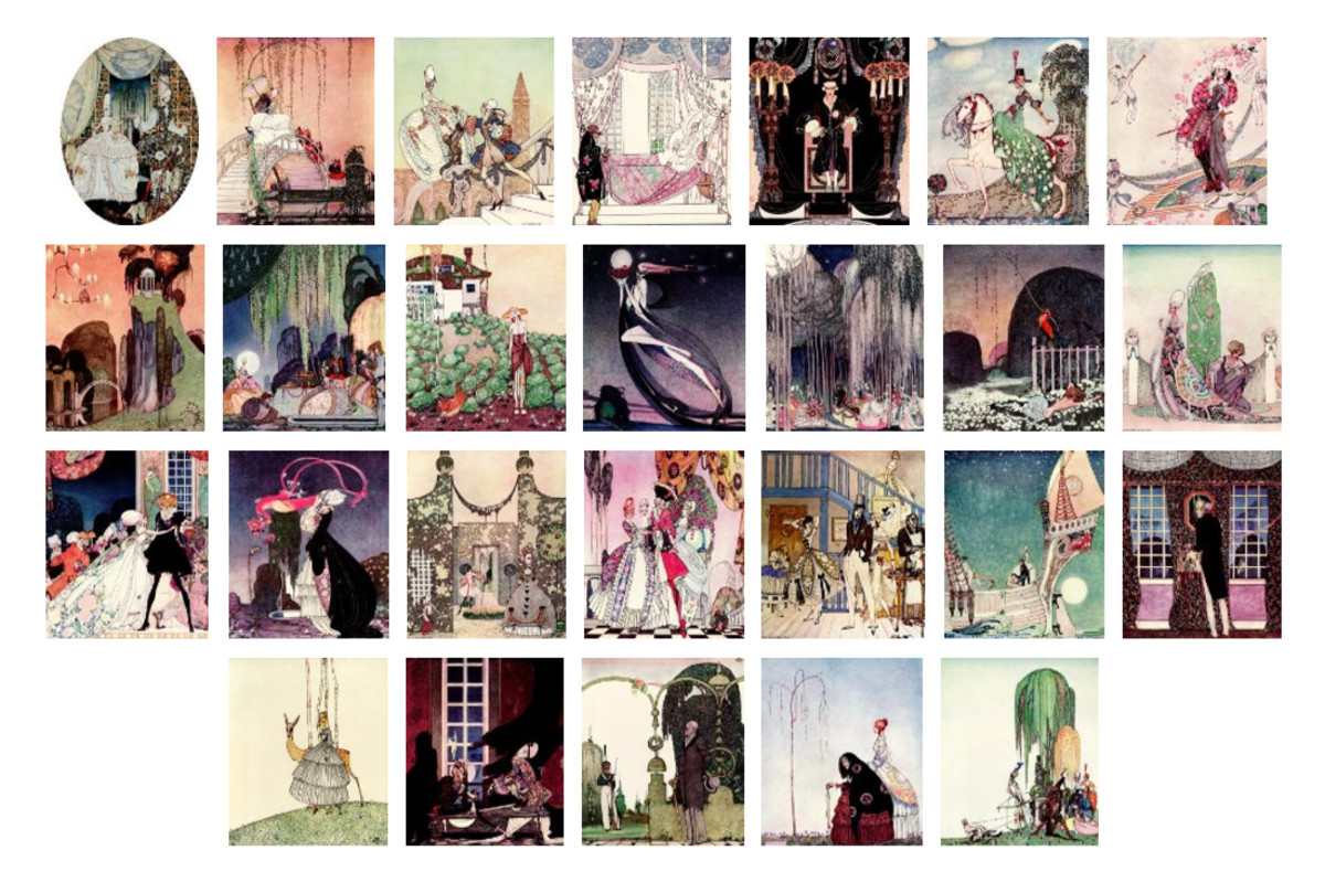 """Here we show each of the full-color designs by Kay Nielsen published in the Limited Edition of """"In Powder and Crinoline"""" (1913)."""