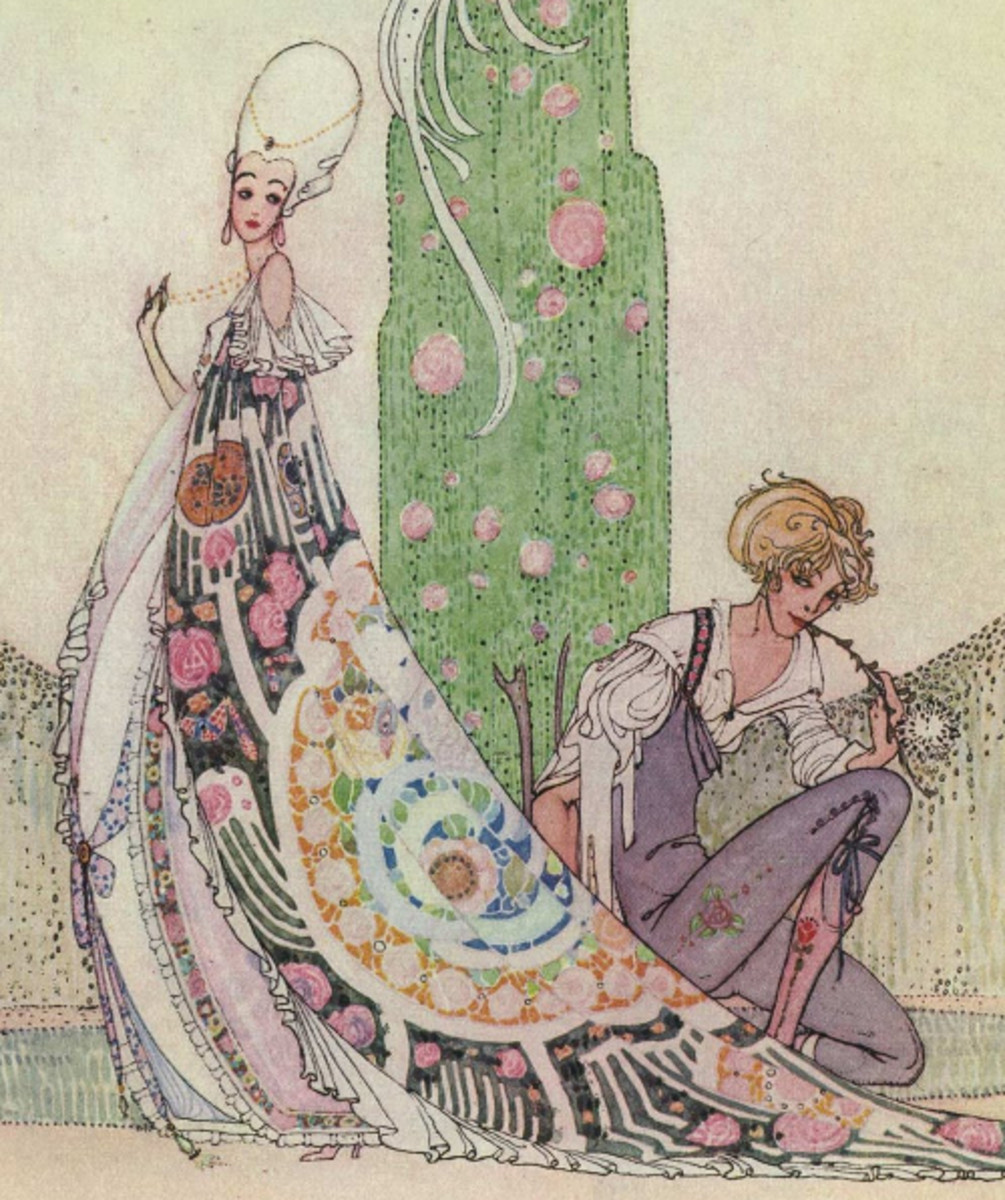 "Here we show a portion of 'She stopped as if to speak to him' - a design by Kay Nielsen from his suite prepared for ""In Powder and Crinoline"" (1913)."