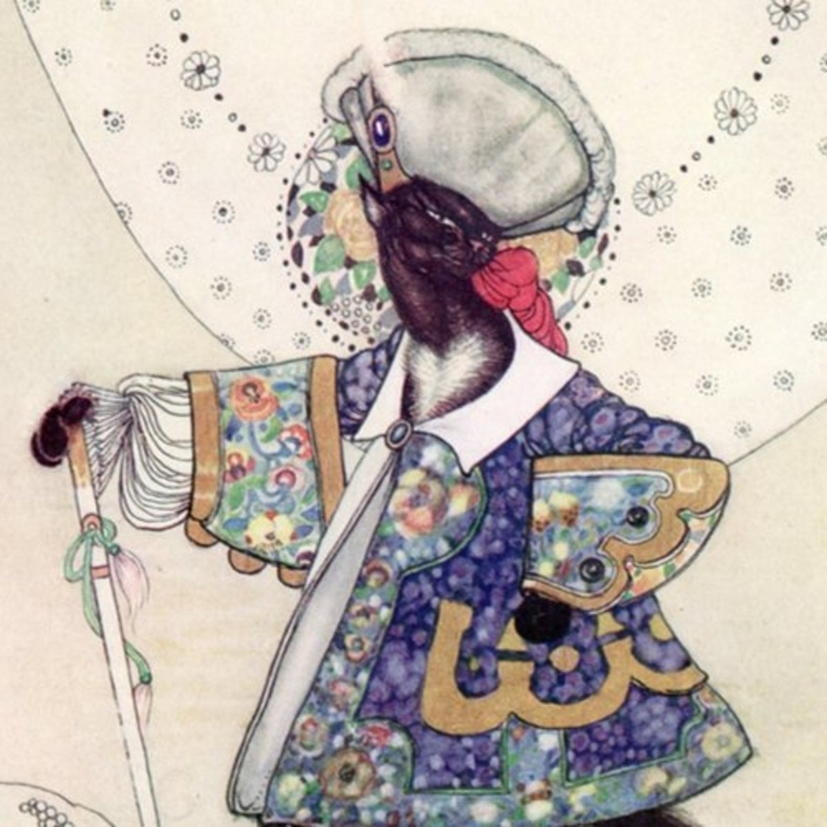 """Here we show a portion of """"Puss in Boots"""" - a design by Kay Nielsen from a suite inspired by the Fairy Tales of Charles Perrault."""