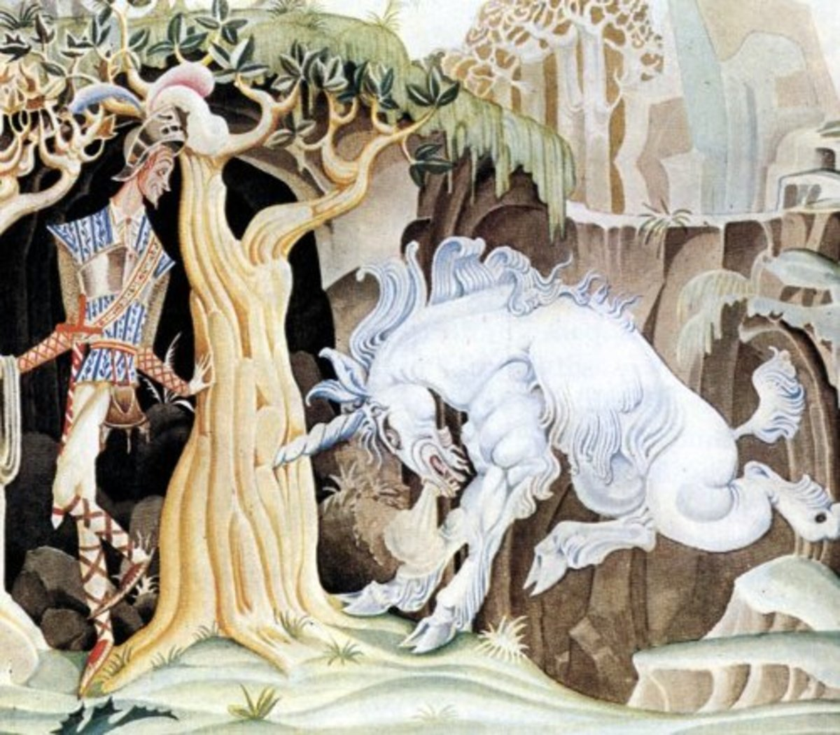 "Here we show a portion of 'The Valiant Tailor' - a design by Kay Nielsen from his suite published in ""Hansel and Gretel and other stories by the Brothers Grimm"" (1925)."