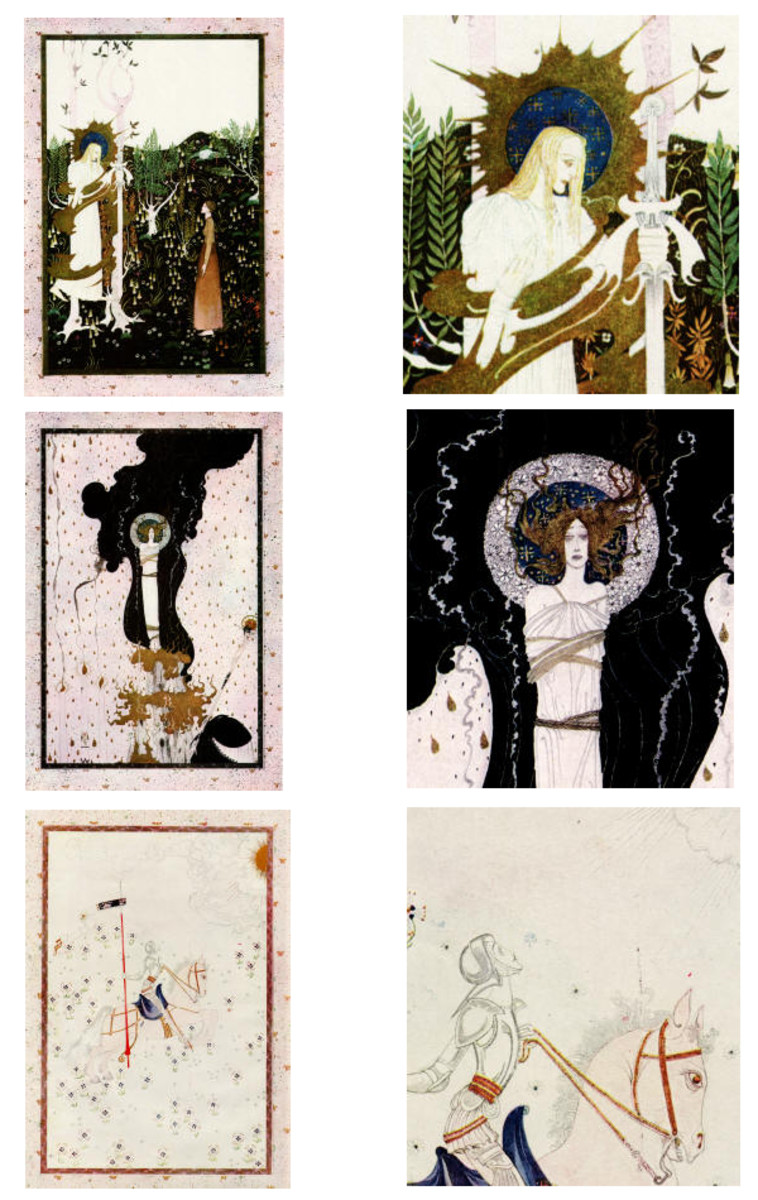 "Here we show the three designs by Kay Nielsen (including details) from a suite known as ""Scenes from the Life of Joan of Arc""."