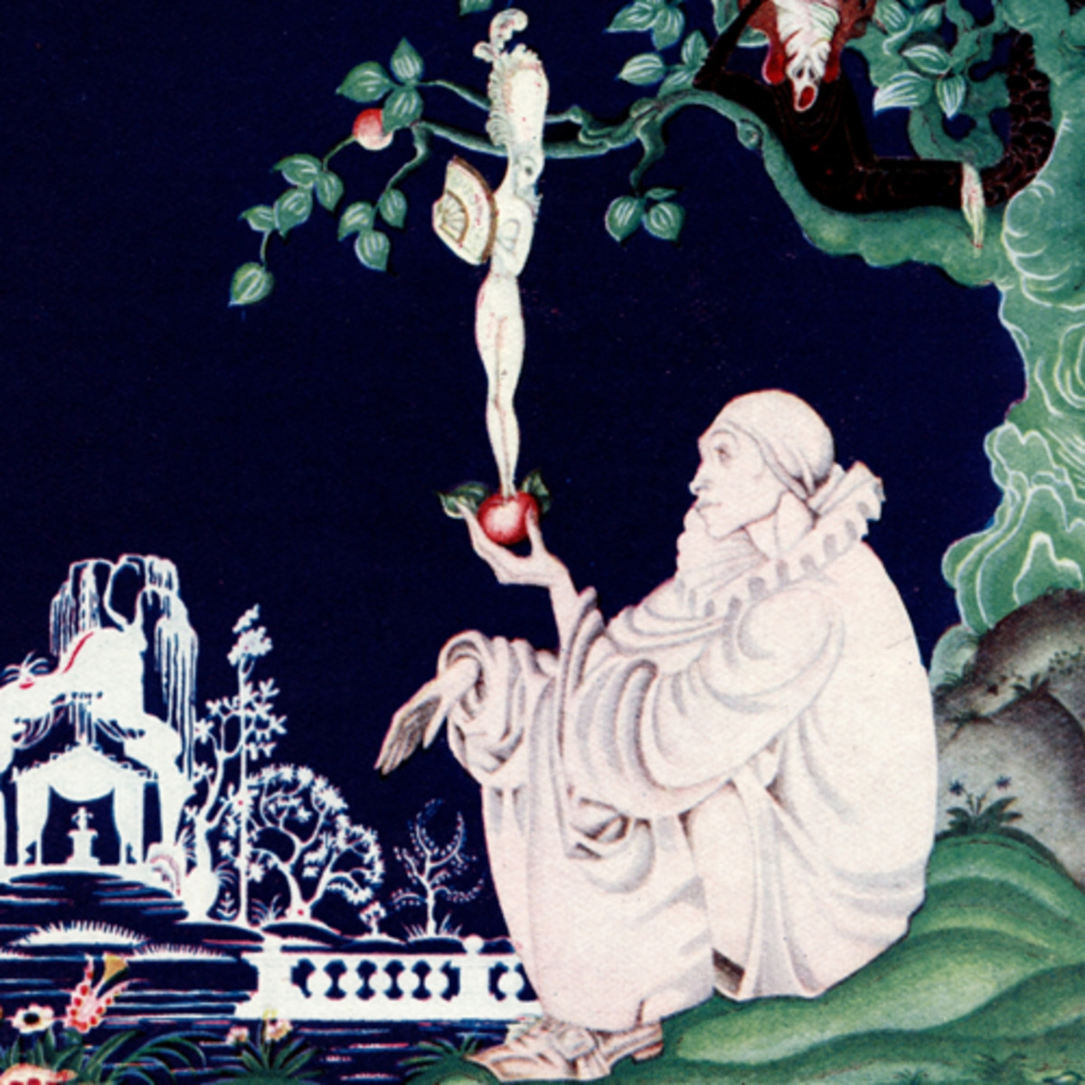 "Here we show a portion of ""The Apple"", a design by Kay Nielsen depicting Eve's temptation of Adam in the Garden of Eden."
