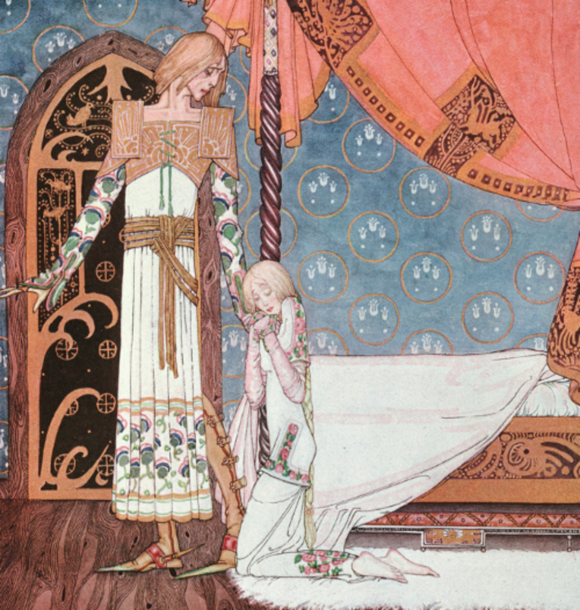 "Here we show a portion of '""Tell me the way, then,"" she said, ""and I'll search you out""' - a design by Kay Nielsen from his suite published in ""East of the Sun and West of the Moon"" (1914)."