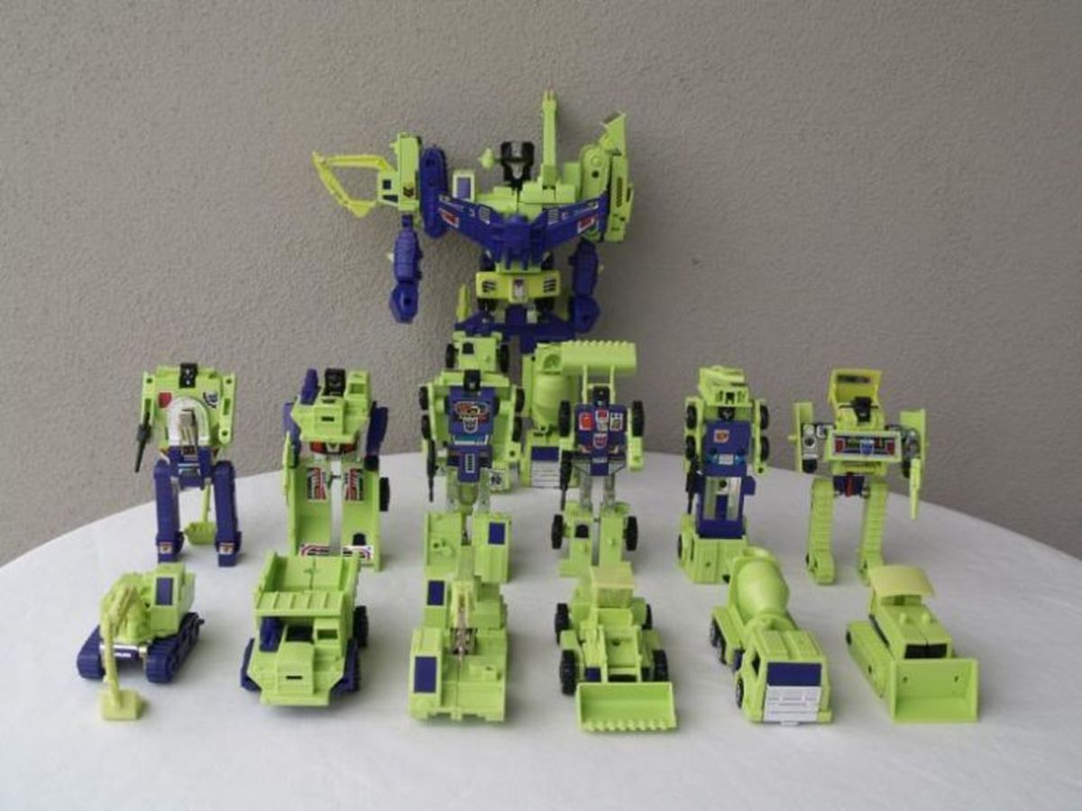 G1 Devastator in combined, individual robot and individual vehicle forms.