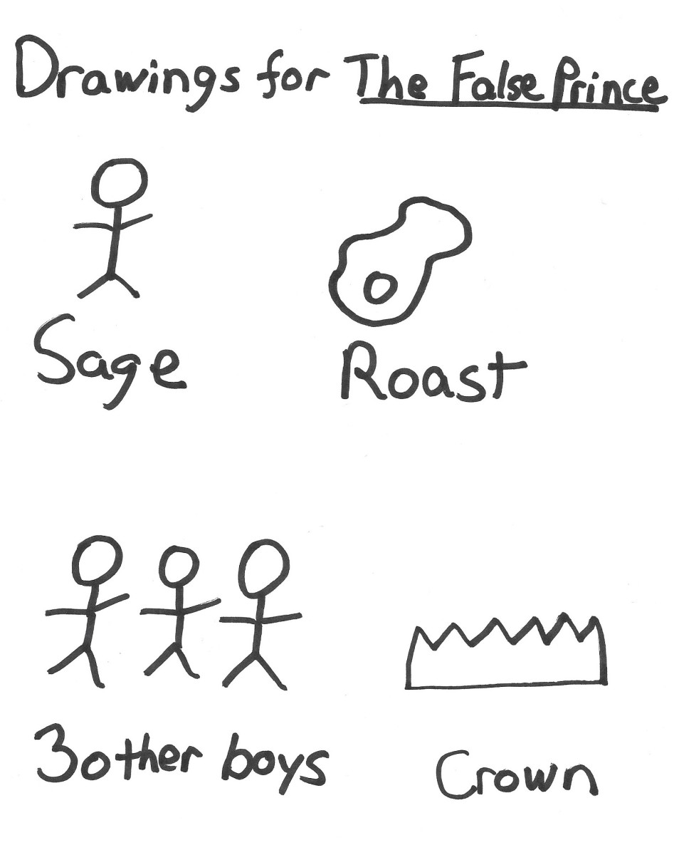 Booktalks for Children's Fantasy Fiction -- suggested drawings for The False Prince by Jennifer Nielsen.