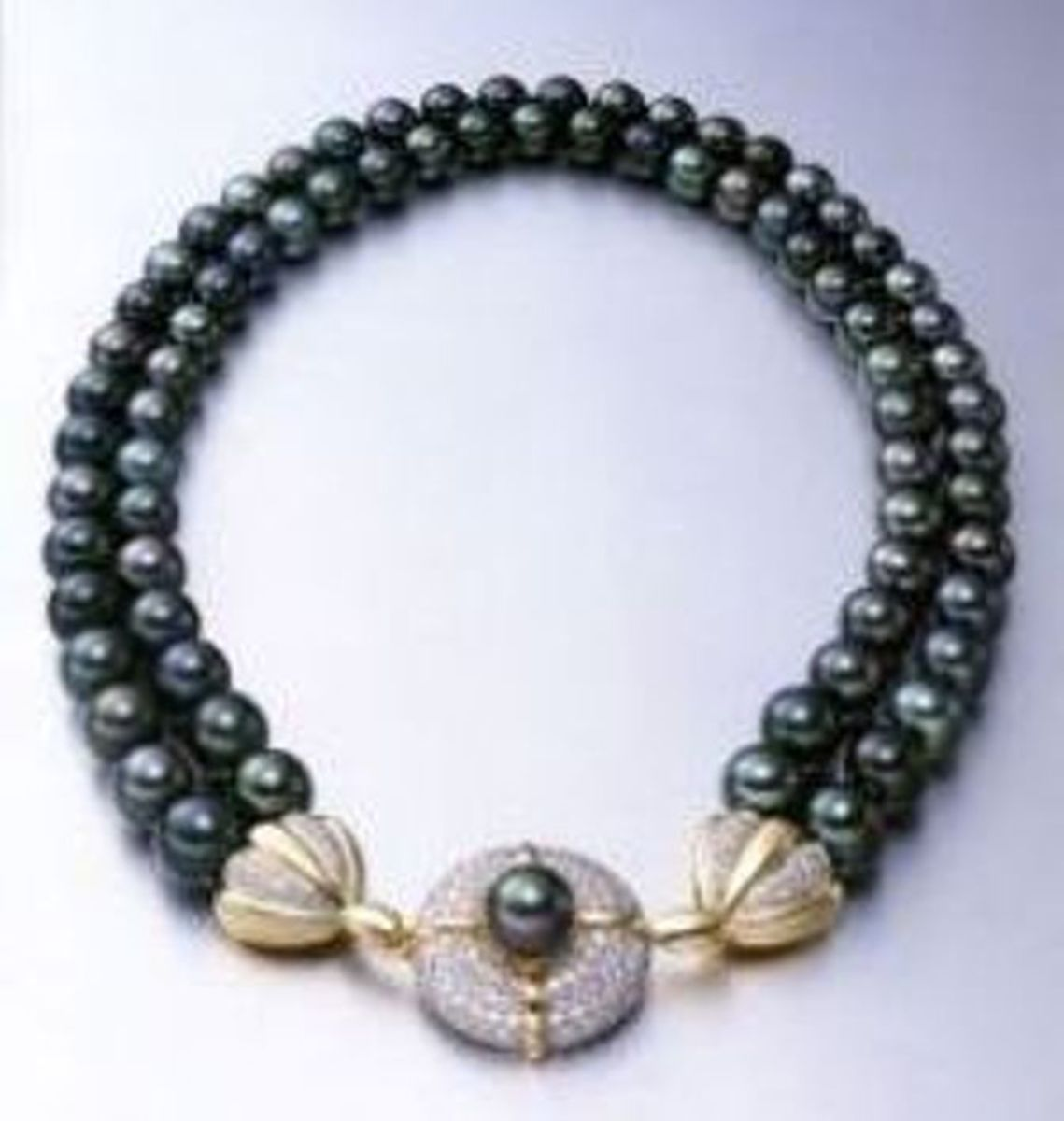 Birk's Black Tahitian double row cultured pearl necklace