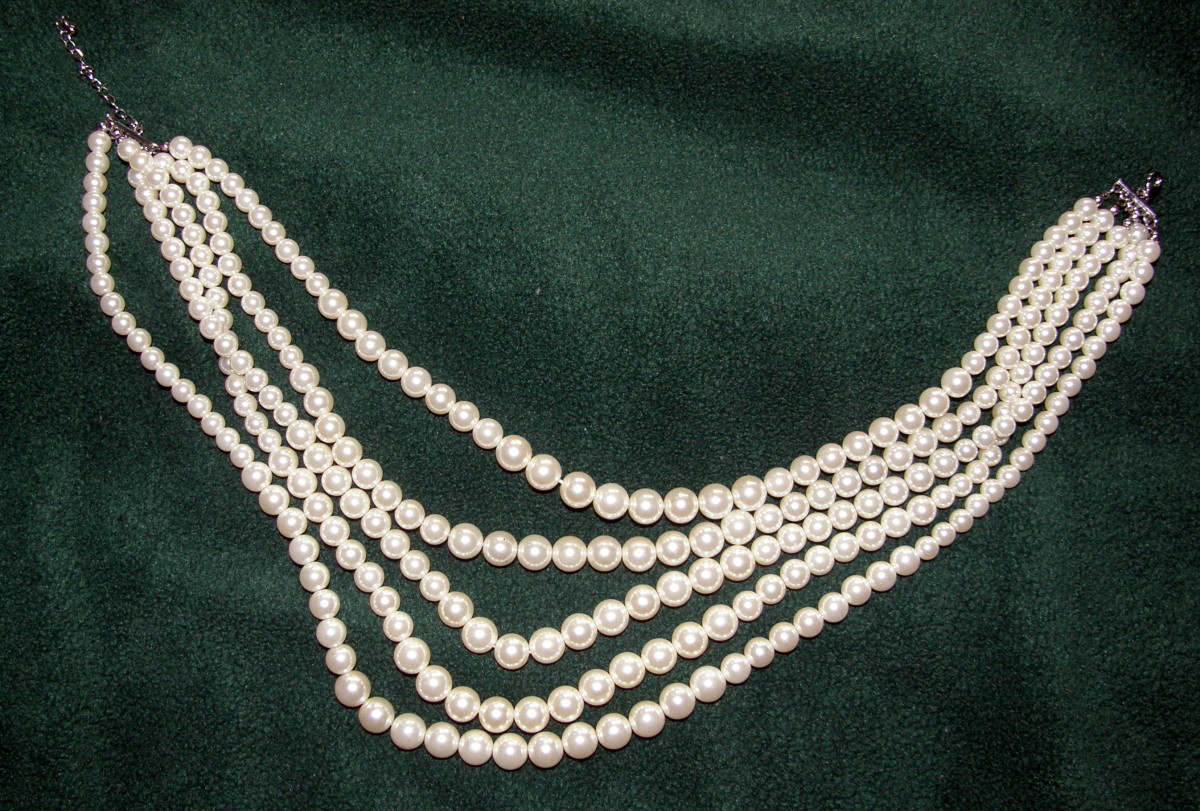 The author's only set of imitation pearls, a recent gift
