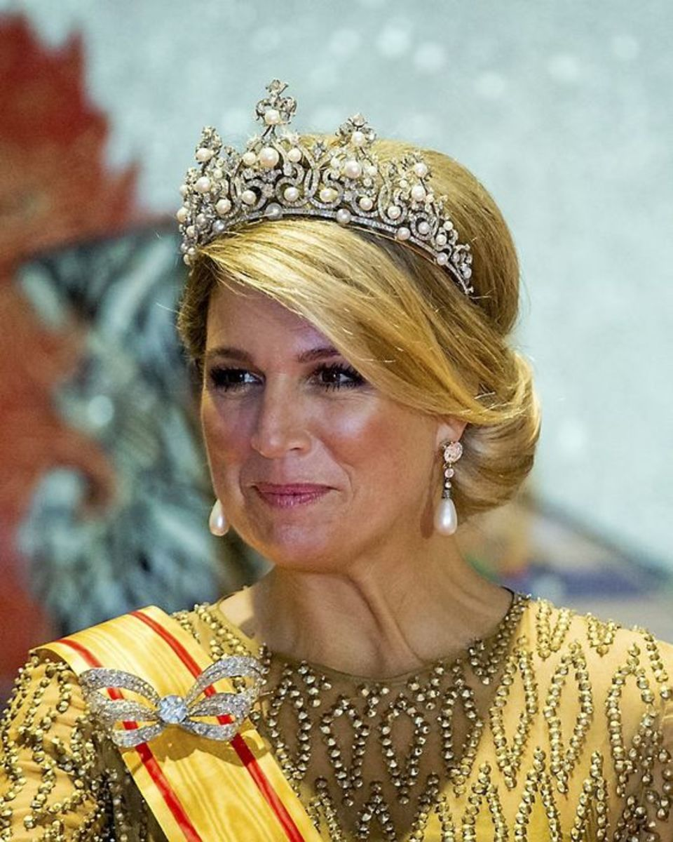 HM Queen Maxima wearing The Wurttemberg Ornate Pearl Tiara, pearl and diamond earrings.