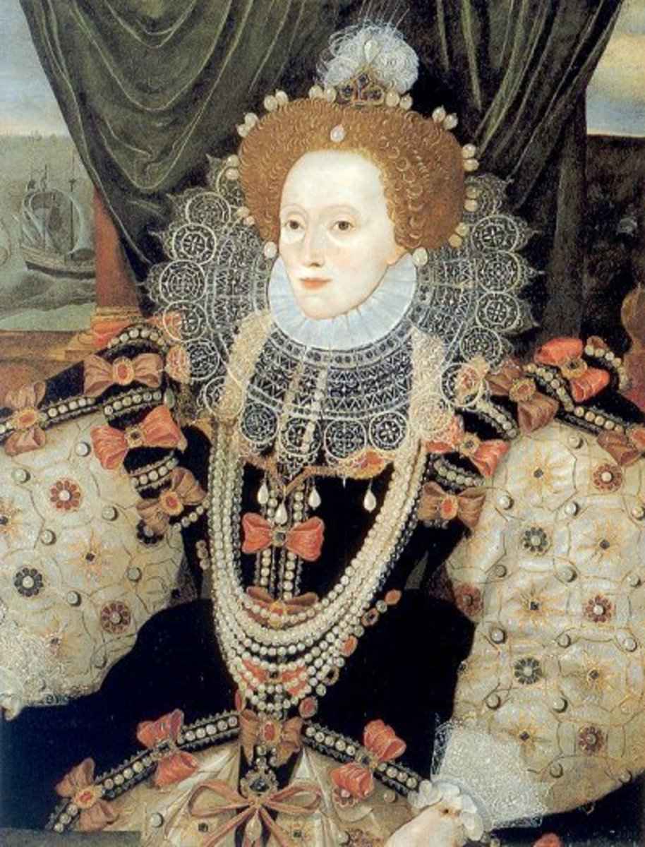 Symbolism is rife in this famous image of Queen Elizabeth I.  Pearls - symbolic of purity - decorate the queen's head and gown.