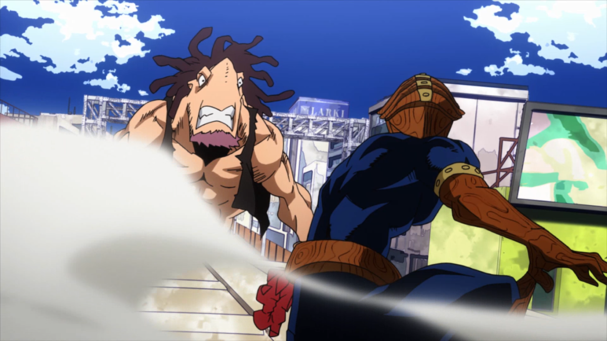 Kamui Woods fighting a villain in Boku no Hero Academia in Episode 1.