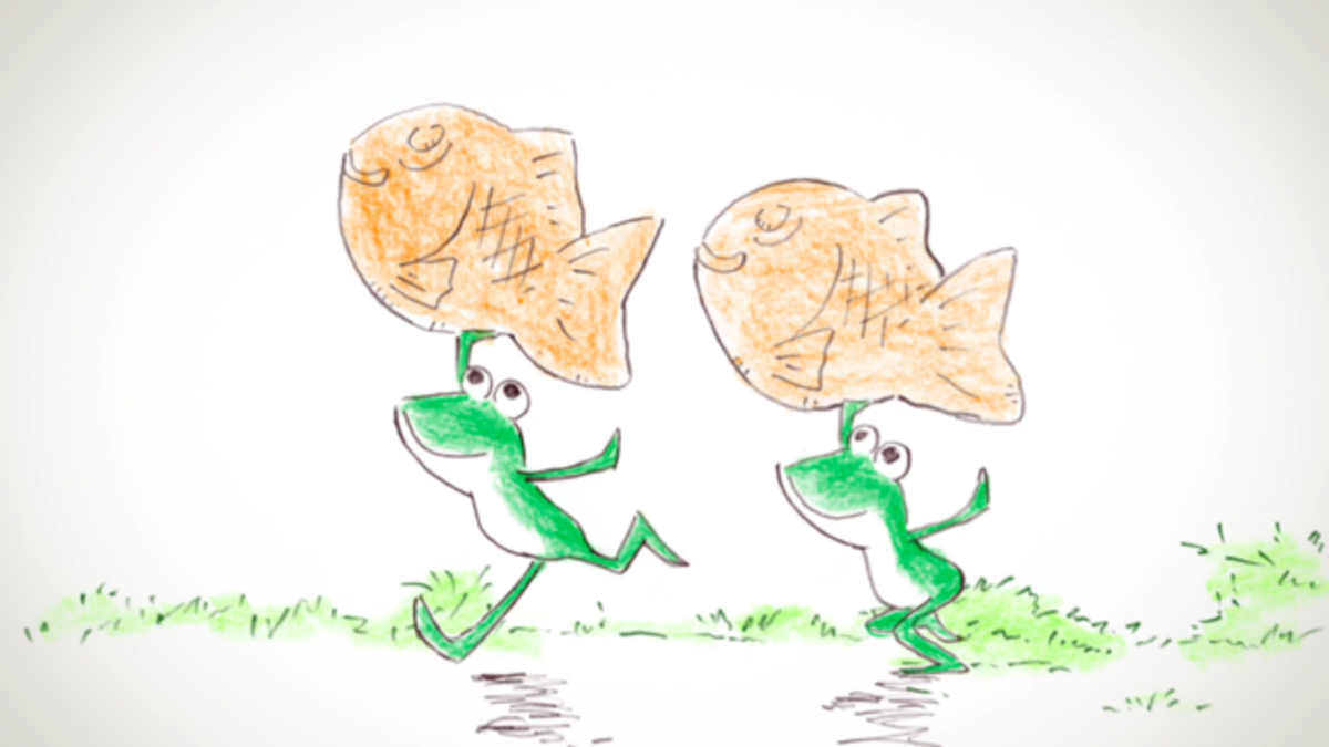 Frogs carrying taiyaki in Orange.