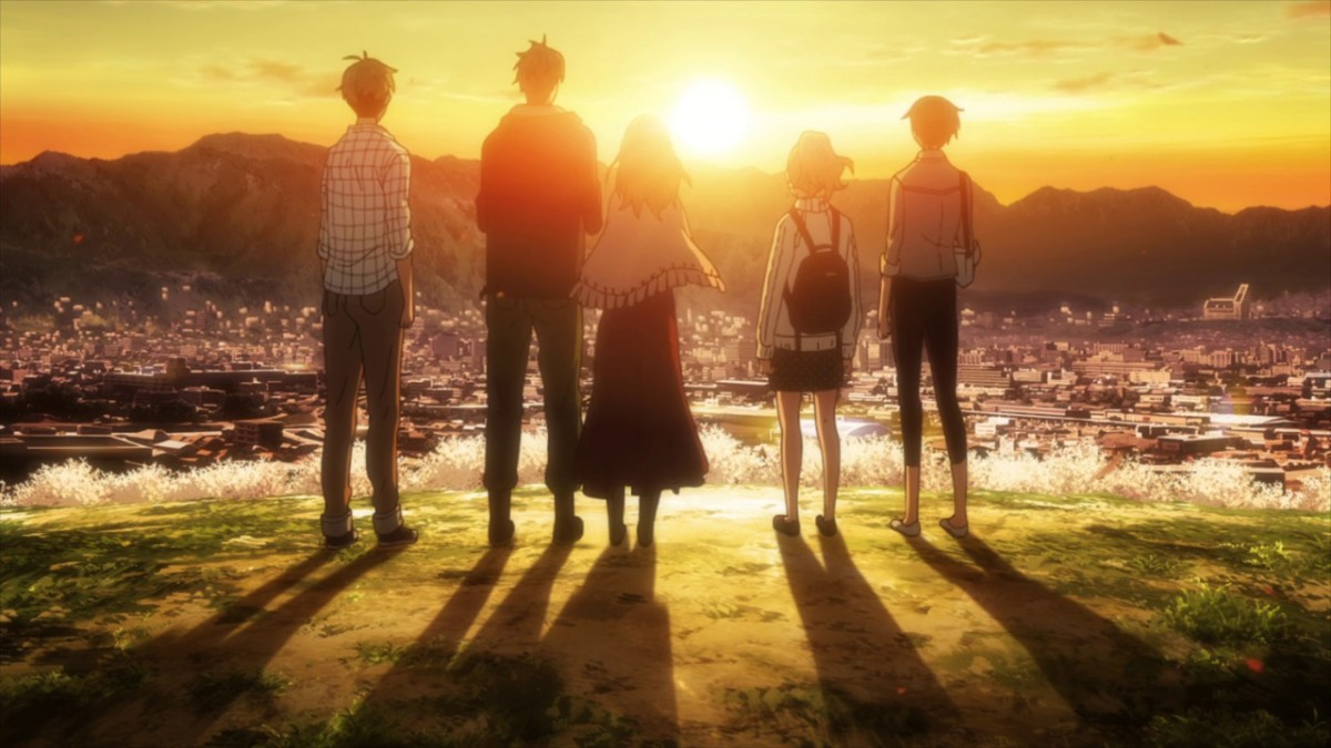 Naho, Suwa, Azusa, Takako, and Hagita watching the sunset from Mount Kobo.