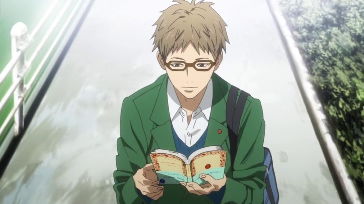 Hagita reading a manga.