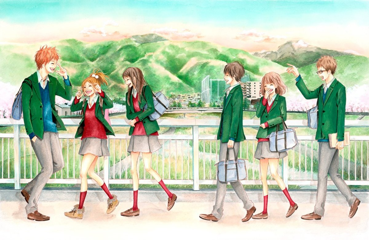 The main characters of Orange - Suwa, Azusa, Takako, Kakeru, Naho and Hagita (from left to right).