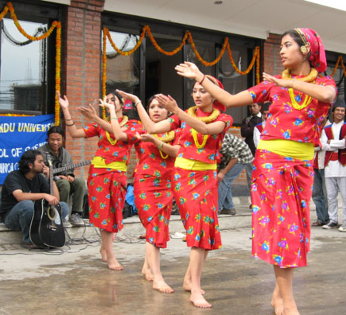 Girls Playing Bhailo in Nepal on 3rd Day's Night of Tihar festival