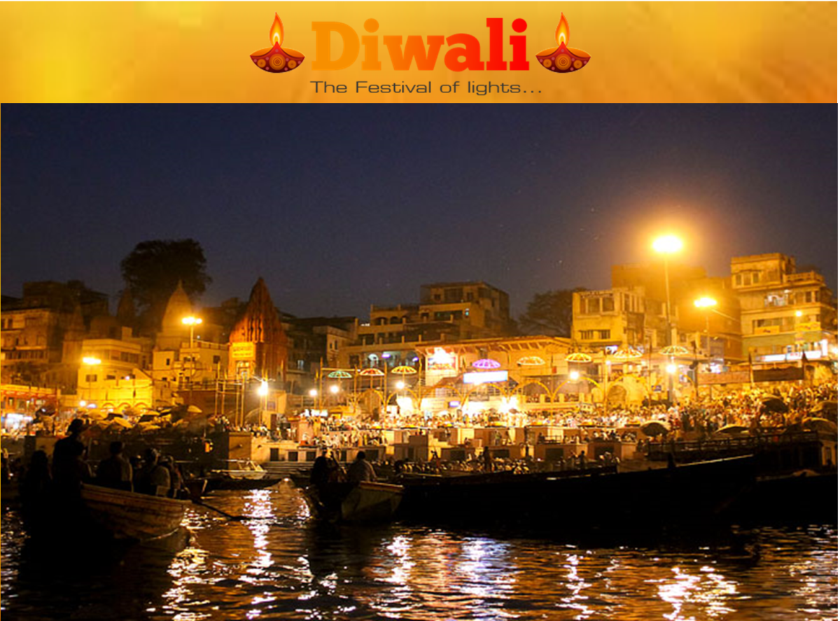 View of India on Diwali (At Holy River Ganga, from Varanasi Ghat)