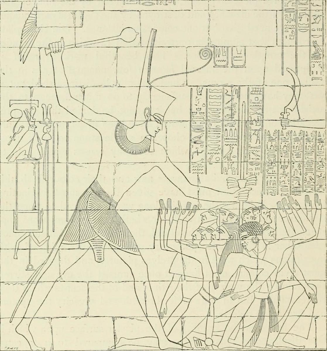 Seti I, striking prisoners of war with a mace. Karnak, Thebes