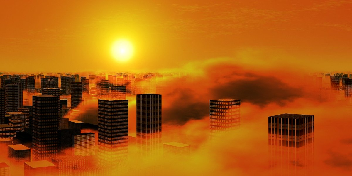 This photo is a sort of representation of what happens in Los Angeles as the city is covered by a cloud of smog for many days.