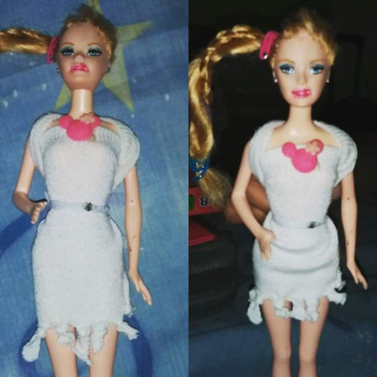 Barbie Doll Dress Upcycled from Socks  (done by my daughter at age 8)