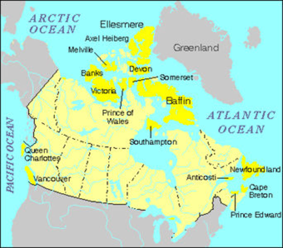 Map of the Northern Canadian Archipelago