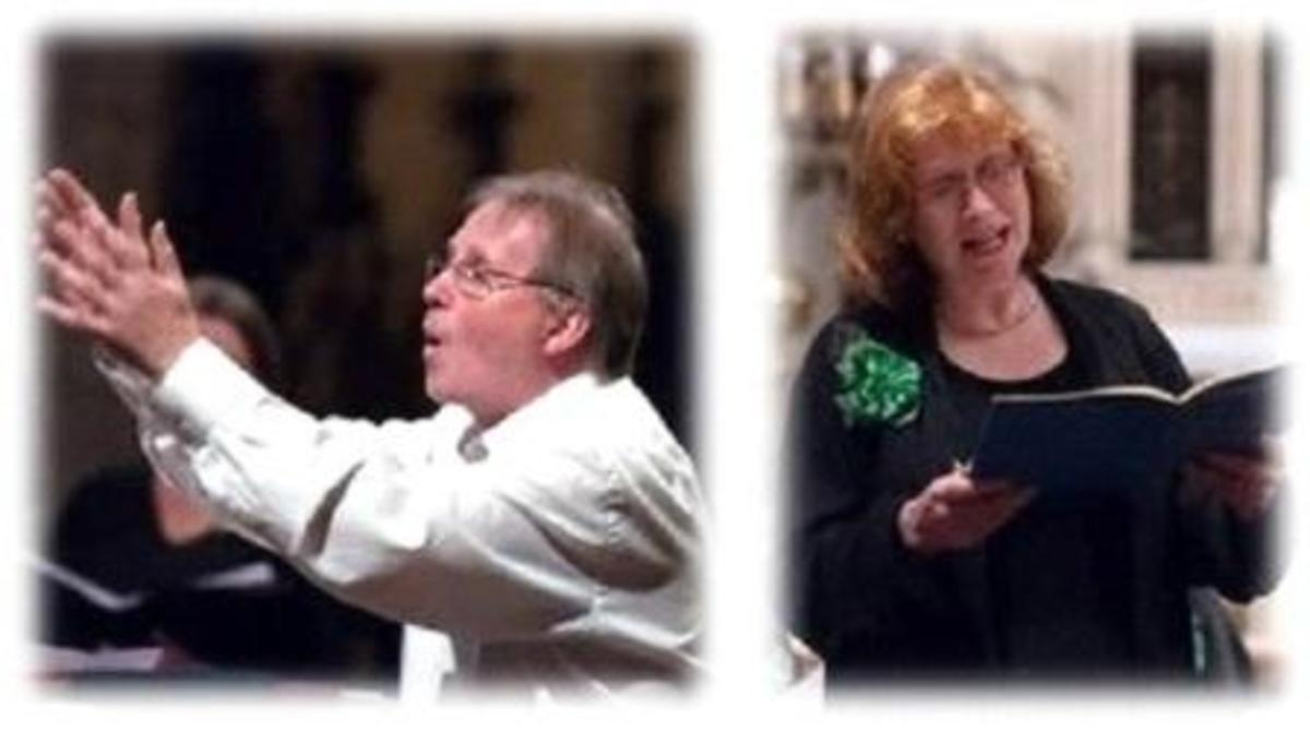Colin conducting and Anne singing.