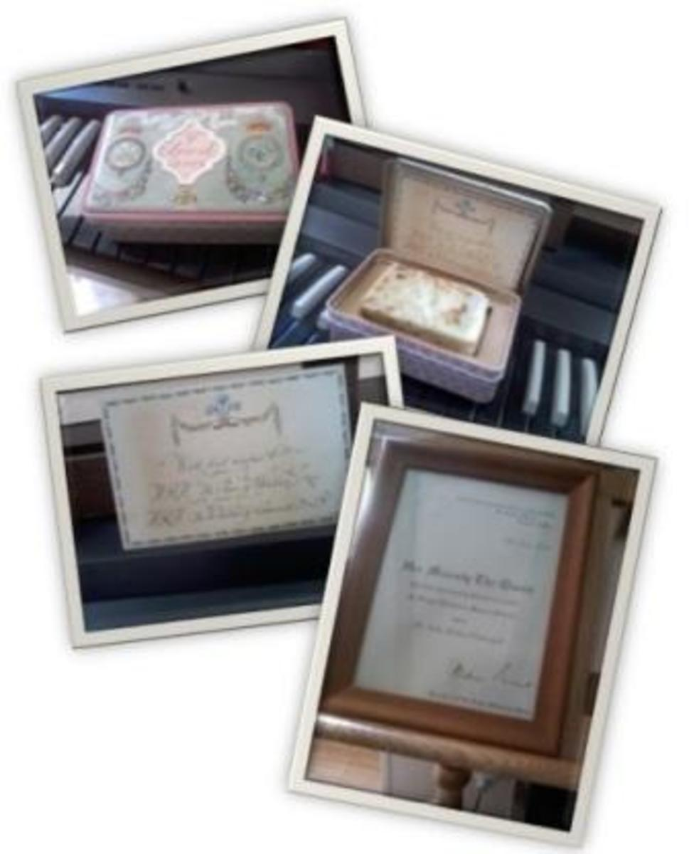 The three top photos show Colin's uneaten royal wedding cake with accompanying card. The bottom photo is of the certificate awarded to Colin with his Royal Victorian Medal.