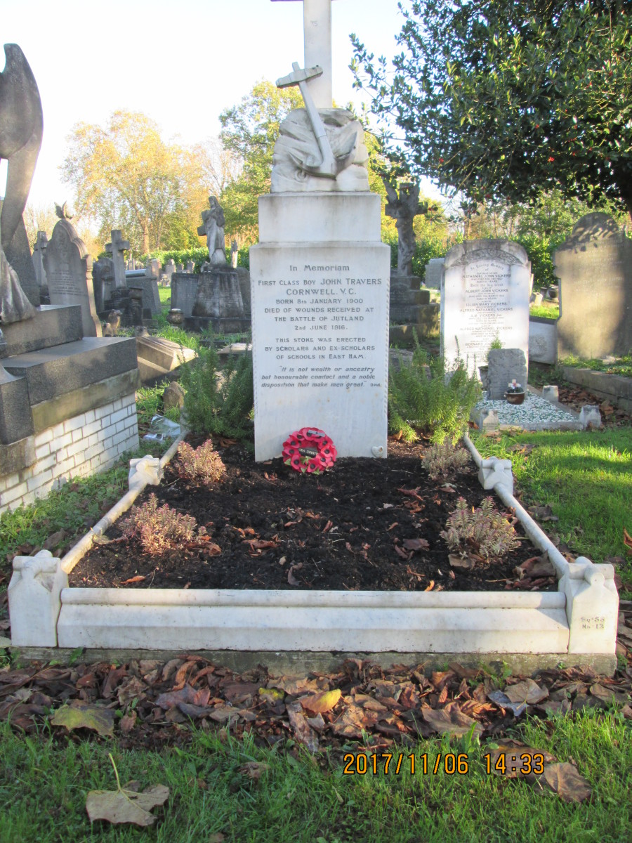 The grave of John 'Jack' Travers Cornwell, centre of Remembrance Sunday services in East London. With him are an older brother - killed 1918 in France - mother and father - the memorial was paid for through subscription by pupils of his old school
