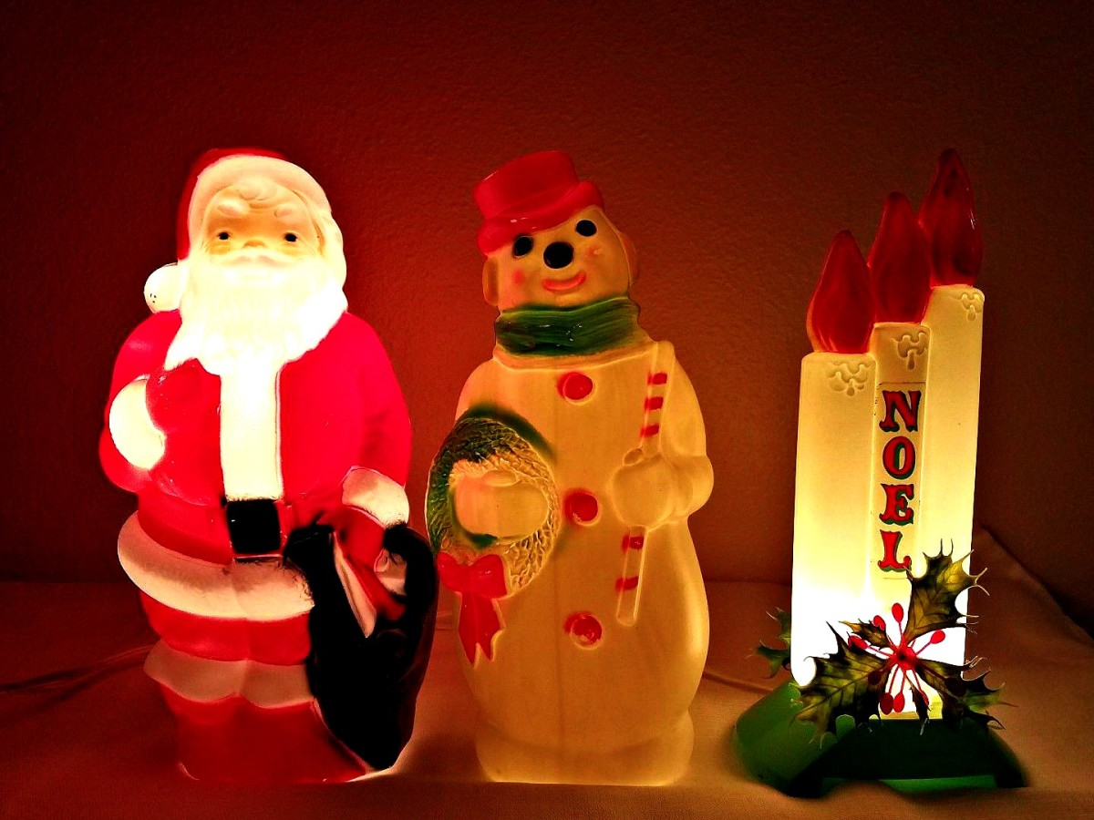 "Three Empire Blow Molds made in 1968 for the Christmas Holidays. All three light up beautifully, still amazing and bright Empire Blow Mold collection  is of 3 Santa Claus & Snowman Christmas 13"" 14"""