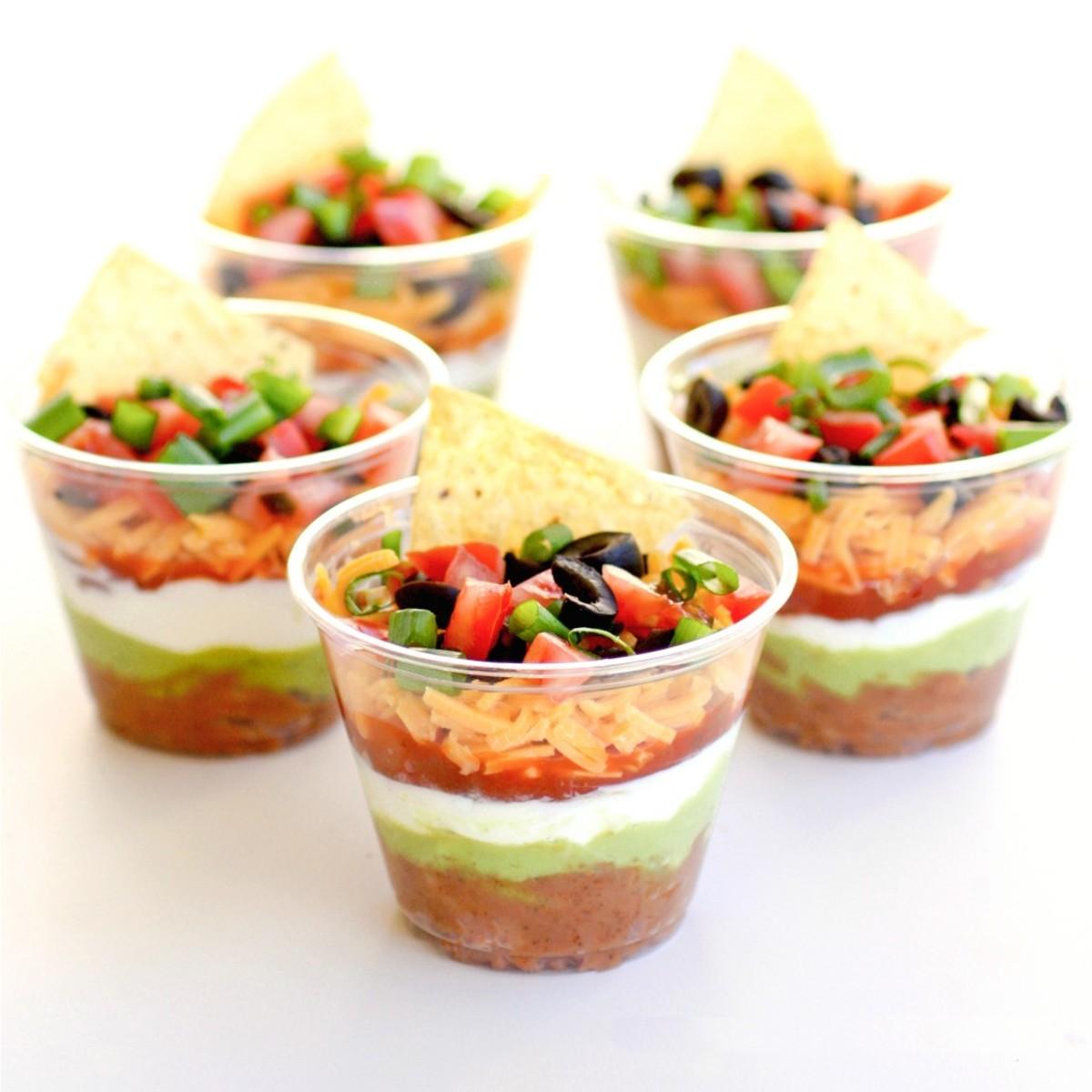 Mini layered dip cups.