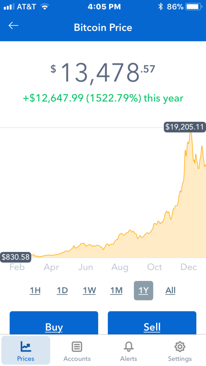Coinbase allows you to watch the chart showing the changing value of the currency.