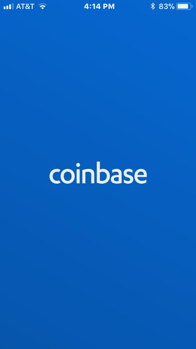 Coinbase application starting screen.