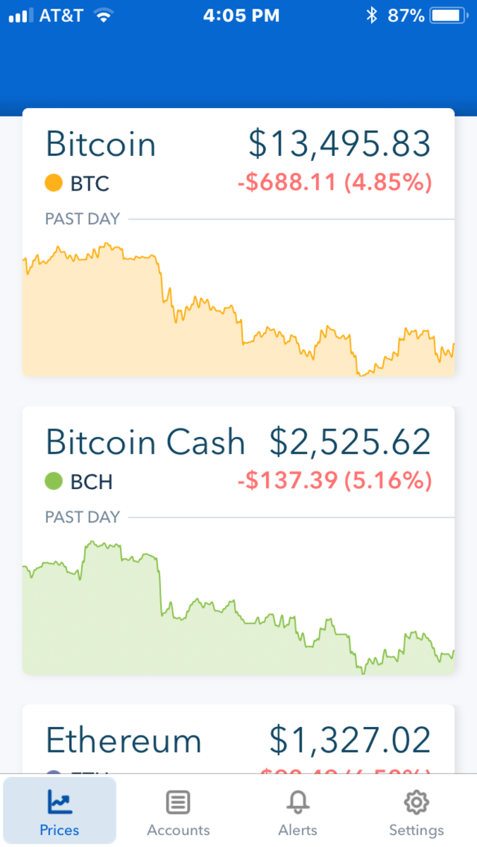 Coinbase allows you to see the value of multiple cryptocurrencies.