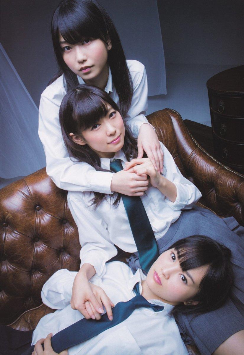 In UTB Magazine pictured here with Yui Yokoyama (top) and Miyuki Watanabe (center).