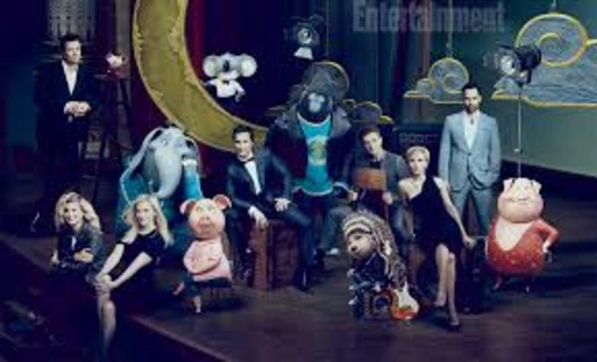 Voice actors, including Tori Kelly and Reese Witherspoon, and characters from the movie Sing