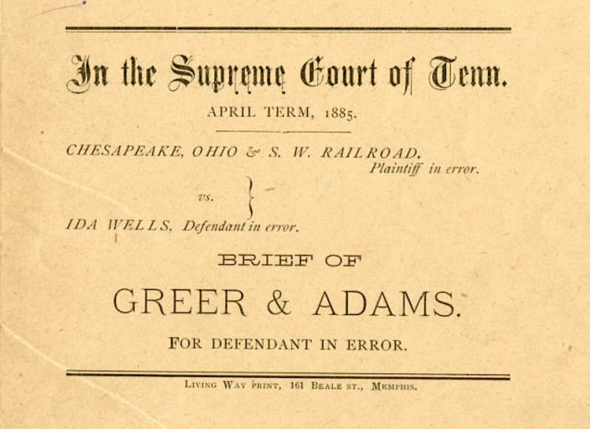Front page of legal brief of Ida B. Wells vs. The Chesapeake, Ohio, & Southwestern Railroad.