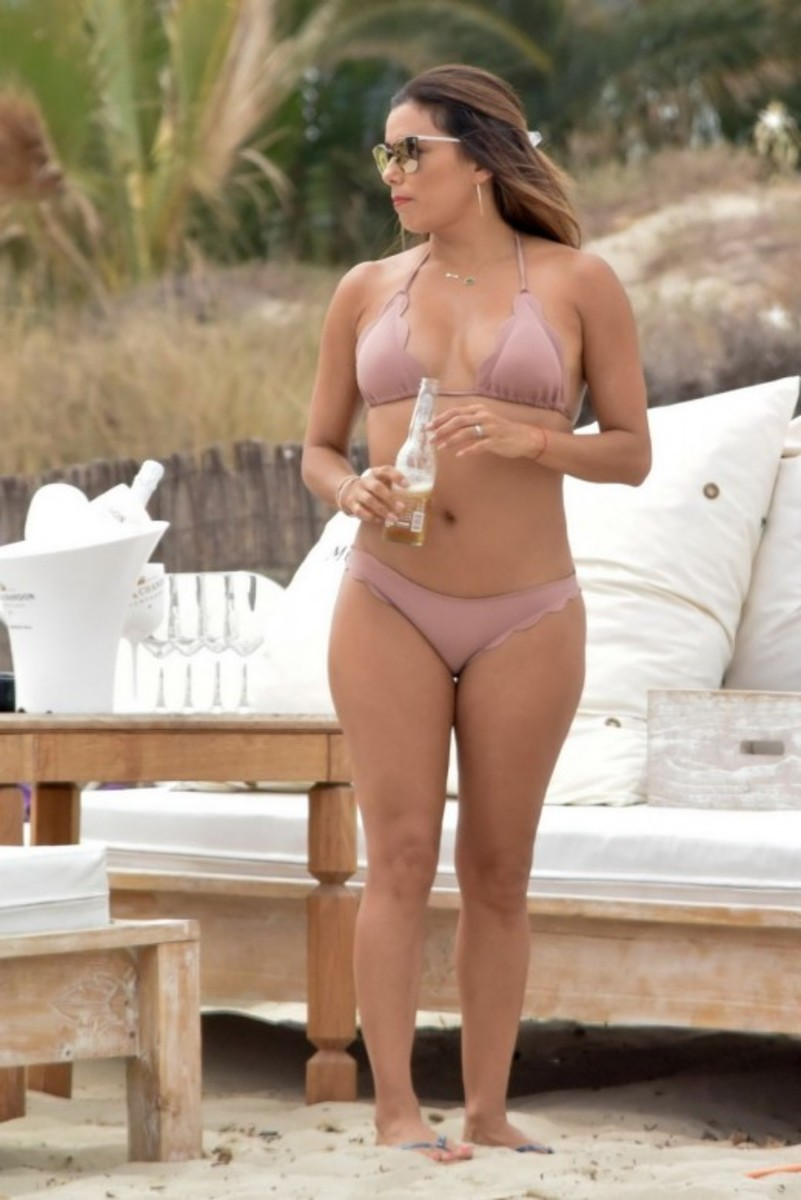 Eva Longoria on the beach in a bikini