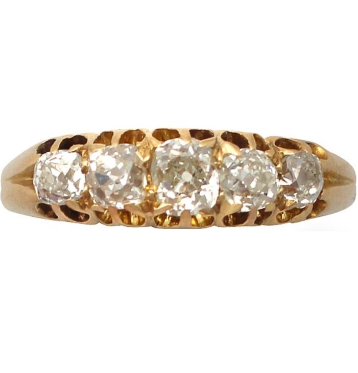 Antique Victorian (1898) Diamond and 18 Carat Gold Five Stone Ring